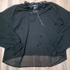 Black sheer star print top Ruffle collar with bow sz 0X